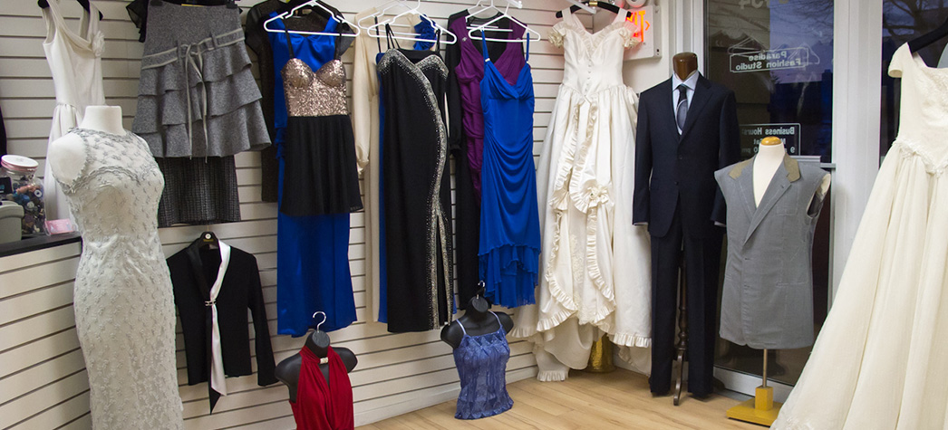 Professional dress alterations in shop by master tailor Ali Rayhani in Vancouver, BC