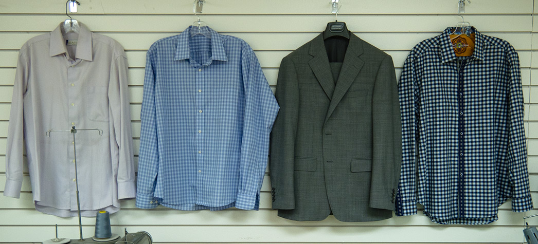 Tailor made dresses, gowns, suits, shirts and other clothing.